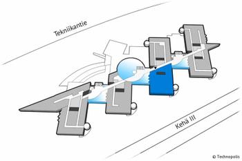 Tekniikantie 12 4krs 431m2 pohjakuva sijainti kiinteistössä