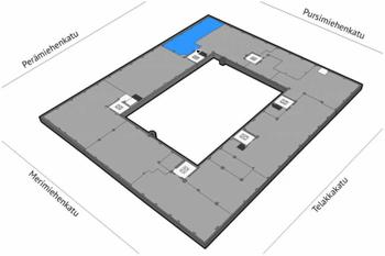 Perämiehenkatu 12 5krs 300m2 pohjakuva sijainti kiinteistössä