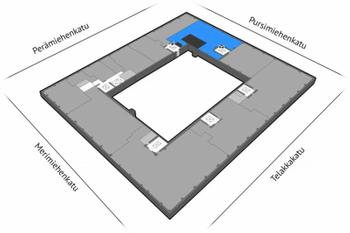 Pursimiehenkatu 29-31 1032m2 pohjakuva sijainti kerroksessa