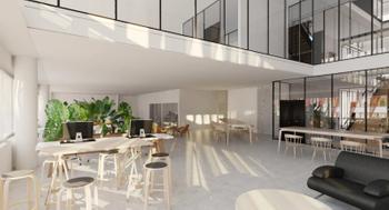 SWING HOUSE 2020 - toimistokerros ja avoportaikko